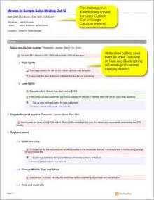 sales meeting report template sle sales meeting minutes template meetingking