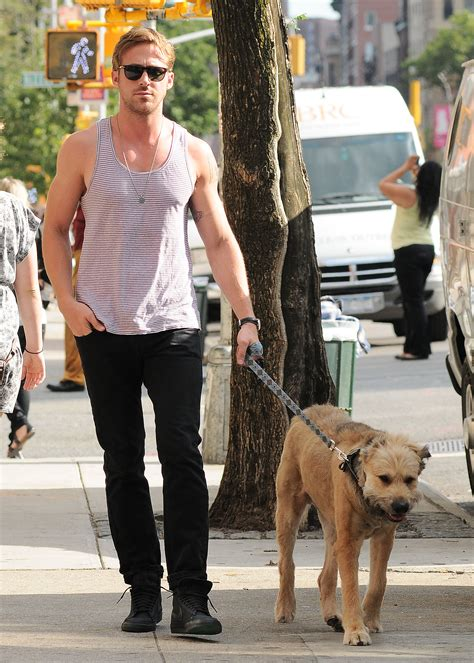gosling holding a puppy gratuitous gosling gallery tank tops edition