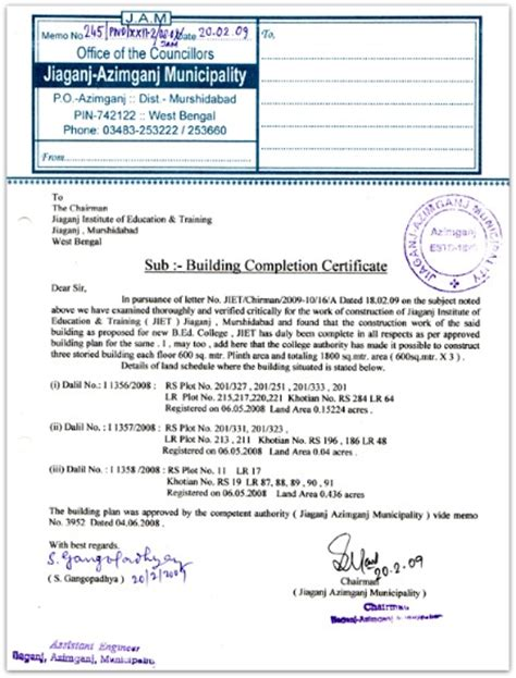 Bank Of Maharashtra Letterhead Occupancy Certificate Completion Certificate Importance