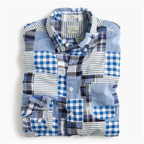 Madras Patchwork Shirt - slim indian madras shirt in blue patchwork