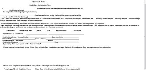 credit card authorization letter for passenger burbank truck and rental 12 passenger rental