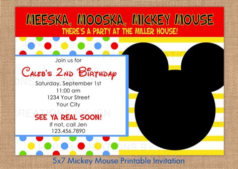 Mickey Mouse Printable Invitations Mickey Mouse Invitation Template Free