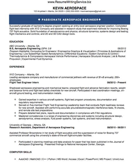 Aeronautical Engineering Resume Sles See Aerospace Engineer Resume Sle Here Resume Writing Service