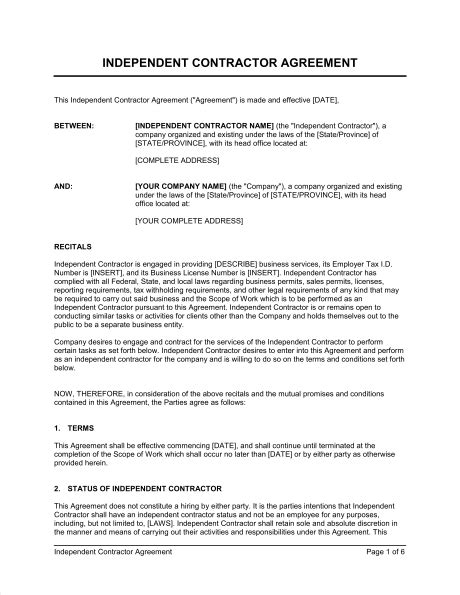 contractor contract template independent contractor agreement template sle form