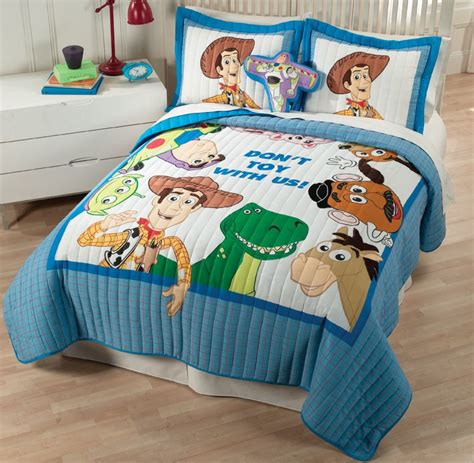 disney toy story woody hamm buzz blue 4pc twin quilt