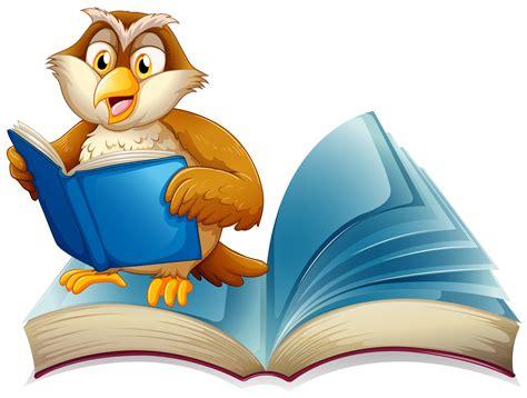 cute owl reading  book   vectors clipart