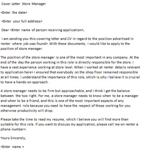 store manager cover letter exle for applications forums learnist org