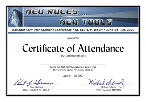 Certificate Of Attendance Conference Template certificate of attendance new calendar template site