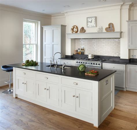 Shaker Style Kitchen Island Esher Grey Shaker Kitchen Transitional Kitchen By Brayer Design