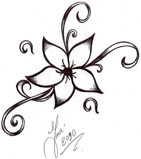 easy tattoo drawings ink on hip tattoos flower tattoos and
