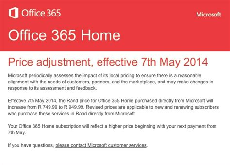 microsoft office 365 price increase in south africa