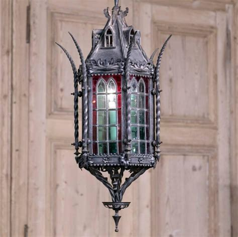 Stained Glass Chandelier Wrought Iron Lantern Chandelier With Stained Glass At 1stdibs