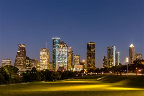 downtown houston skyline and eleanor tinsley park landscape
