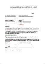 Standby Letter Credit Exle Standby Letter Of Credit Template En