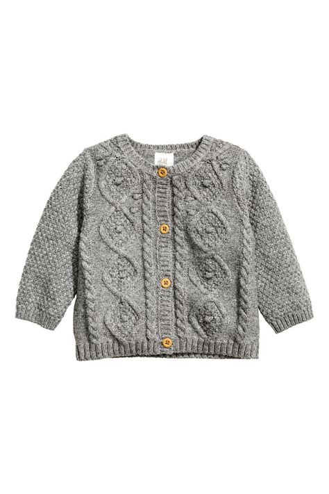 Cardigan Lp 5 cable knit cardigan gray melange sale h m us