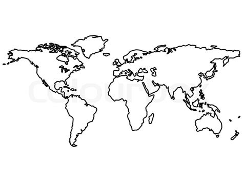 World Outline Drawing by Simple City Coloring Pages