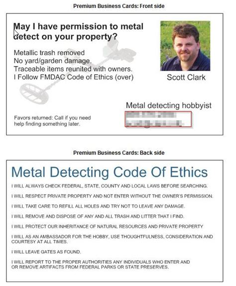 metal detecting business cards idea