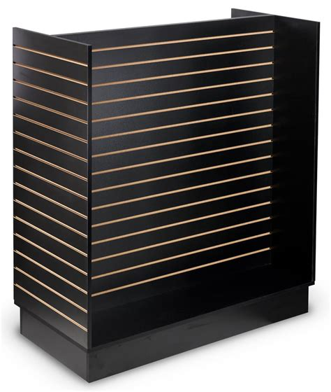 displays2go display products pos retail fixtures slatwall h style gondola 4 sided black showcase
