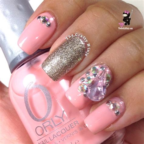 Rhinestone Nail pink rhinestone nails the crafty