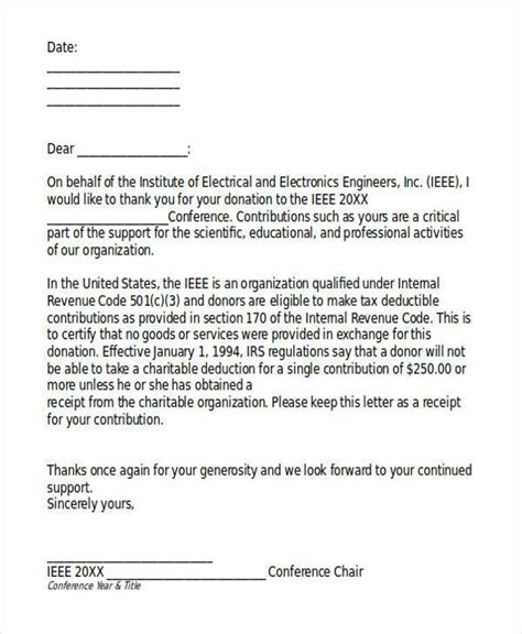 template for donation letter receipt donation in memory of acknowledgement letter