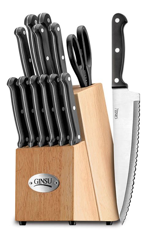 kitchen knife collection ginsu 04817 essential series 14 knife set with block