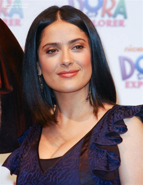 hairstyles for square face and long neck salma hayek easy to keep neck length hairstyle for a