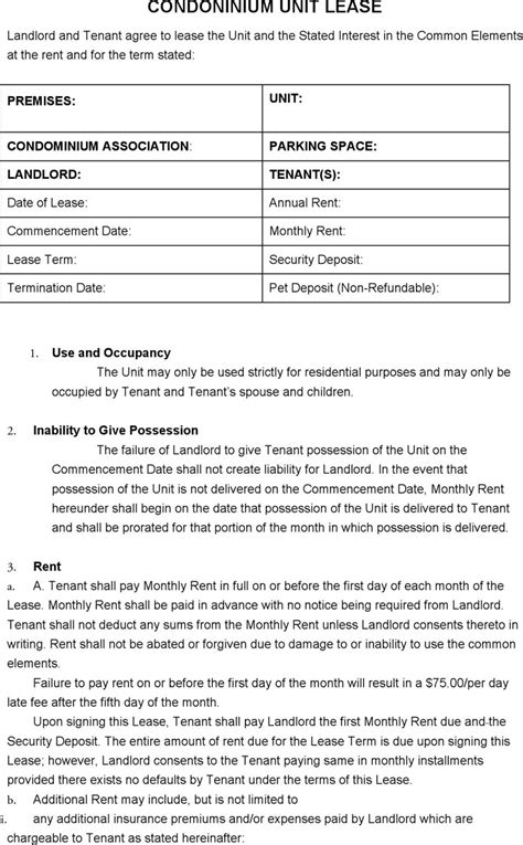 condo lease agreement template download free premium
