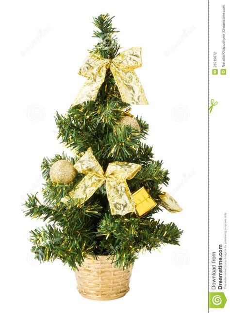 christmas tree with gifts bows and balls on white stock