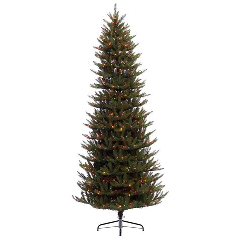 pre lit multi color led slim christmas tree 7 ft pre lit slim fraser fir artificial tree with 500 ul multi led lights 277 ffsl