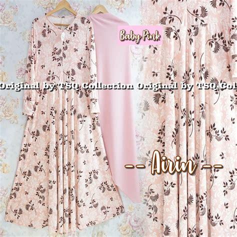 Gamis Set Baby Pink baju gamis set airin syari busana muslim murah