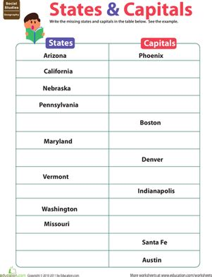 States And Capitals Worksheets by States Capitals Worksheet Education