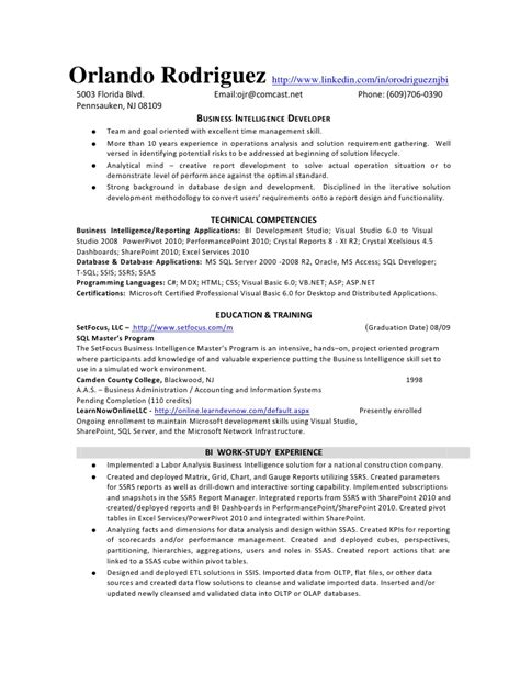 ssrs resume sles msbi developer resume 59 images the best resume letter