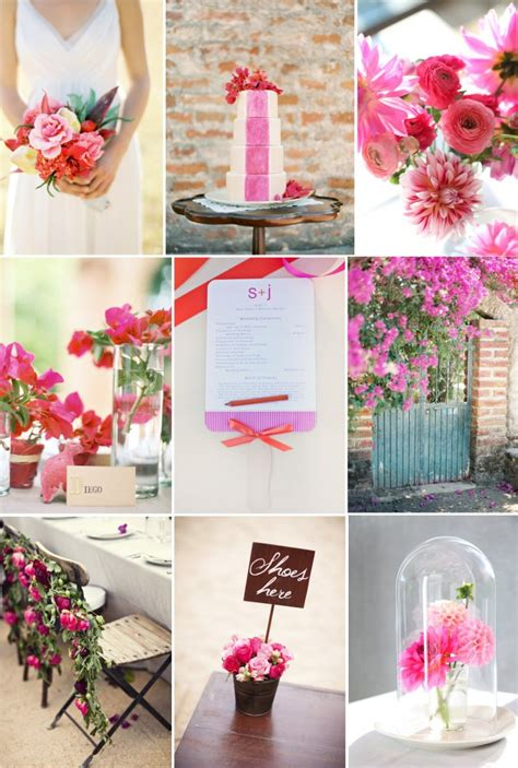 girly wedding color palette mixed hues fuschia red