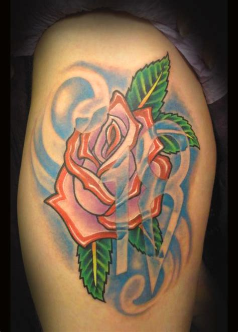 feminine rose tattoo traditional by beto munoz picture