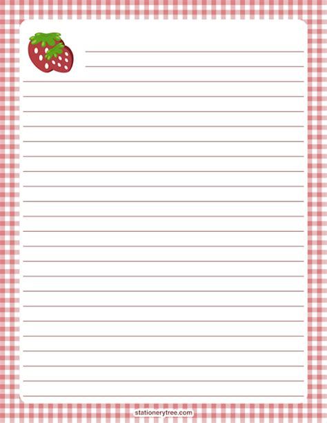 printable recipe stationery printable strawberry stationery