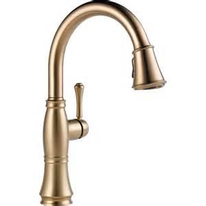 Delta cassidy champagne bronze finish pull down sprayer kitchen faucet