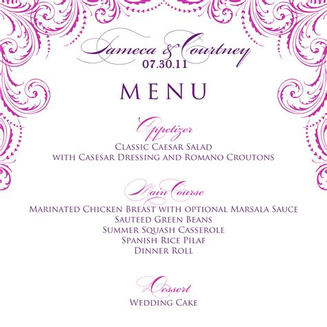 menu template wedding best photos of menu templates free wedding menu