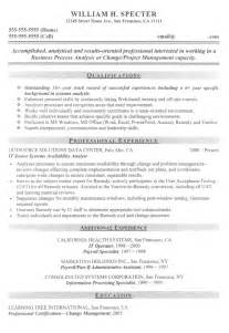pmp resume sle pmp certification resume exle