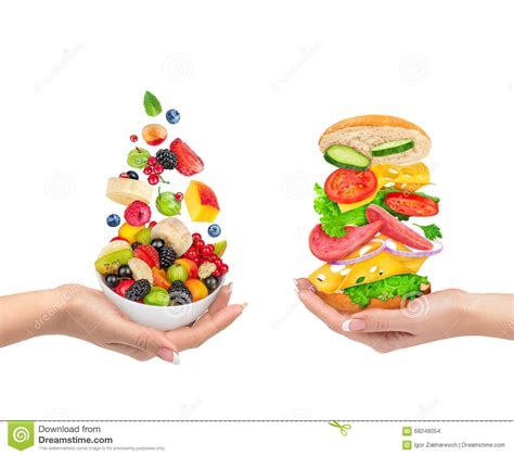 choice food the choice of a healthy food or unhealthy food stock photo image 68248054