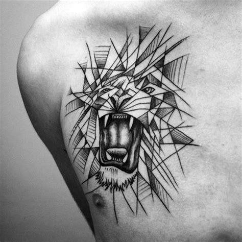 geometric animal tattoo lion 60 geometric lion tattoo designs for men masculine ideas