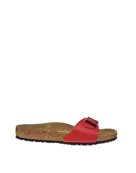 Flat Chery birkenstock cherry madrid flat sandals in cherryred lyst