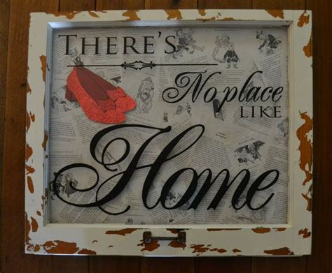 wizard of oz home decor quot there s no place like home quot shadowbox from vintage window the background is pages from the