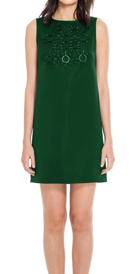 us beaded satin sleeveless dress max heavy satin sleeveless beaded dress in green lyst