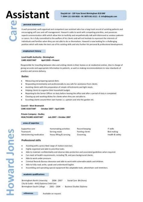 caregiver professional resume templates care assistant cv template description cv
