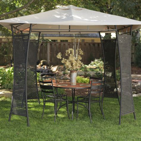 all weather gazebo rioja all weather wicker gazebo at hayneedle