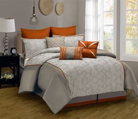modern grey comforter orange comforter sets full size of grey and orange bedding