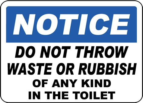 Backyard Scoreboards No Waste Or Rubbish In Toilet Sign By Safetysign Com D5704