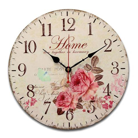 Promo Jam Dinding Kayu Vintage Shabby Flower aliexpress buy 2017 modern design wooden wall clock