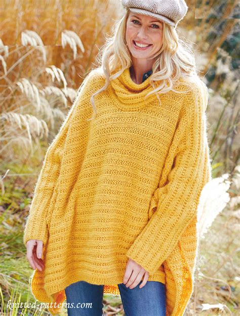 knitted poncho for poncho jumper knitting pattern free