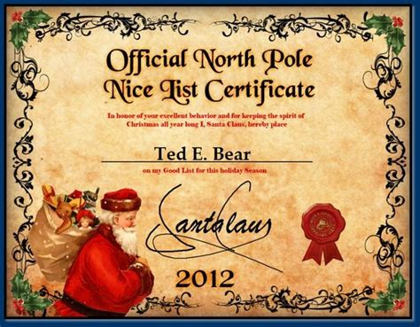 santa claus certificate template list certificate 2015 for rowan